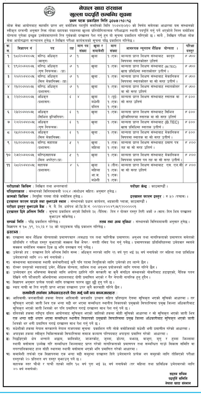 Officer, Junior Assistant & Assistant Vacancy on Nepal Food Corportation